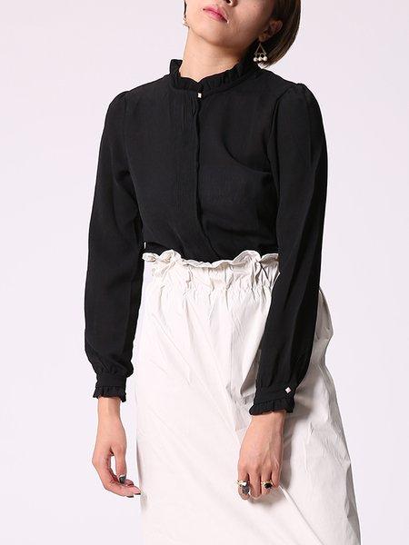 Black Chiffon Elegant Ruffled H-line Blouse