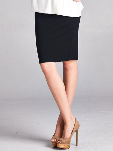 Black Simple Rayon Pencil Skirt