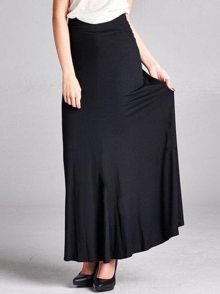 Black Simple Rayon Maxi Skirt
