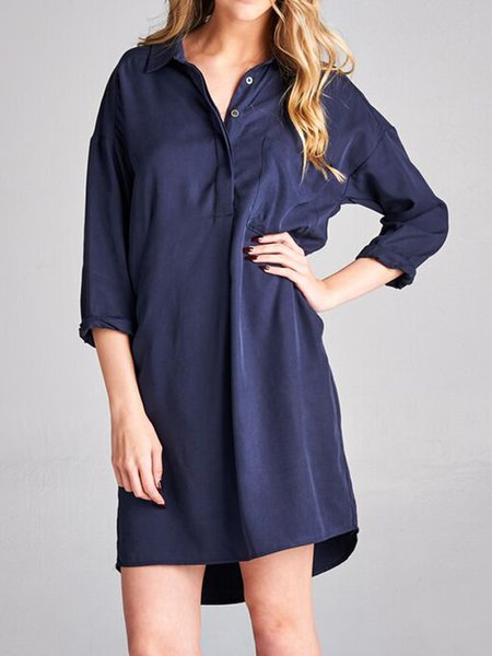 Navy Blue Tencel Simple H-line Shirt Dress