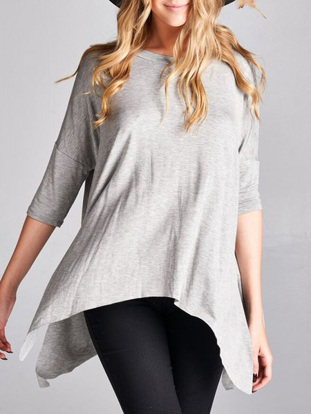 Modal Plain Asymmetrical Casual Batwing Long Sleeved Top