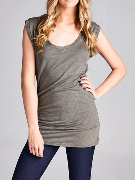 Olive Green Modal Sleeveless H-line Plain Tanks
