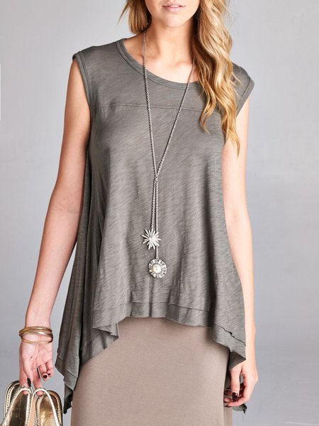 Sleeveless Plain Casual Tiered Tanks