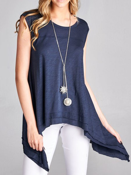 Tiered Sleeveless Plain Casual Tanks And Cami