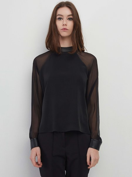 Black Raglan Sleeve Plain Paneled Blouse