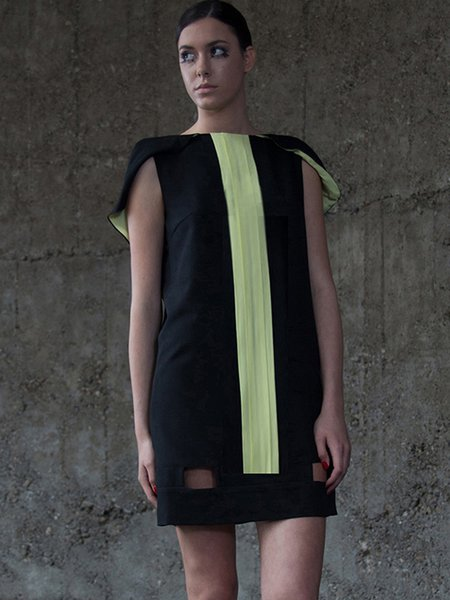 Bateau/boat Neck Statement H-line Georgette Short Sleeve Mini Dress