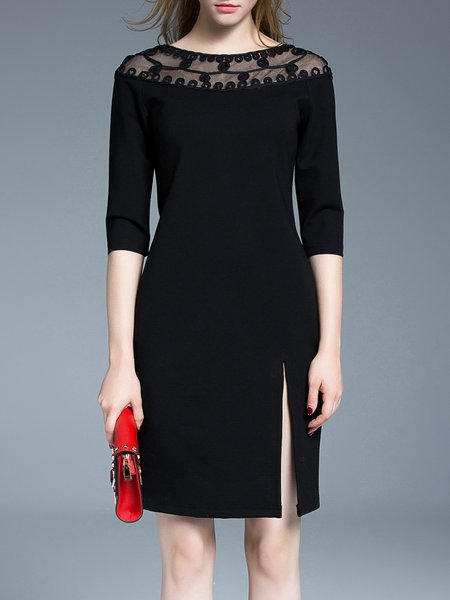 Black Plain Elegant H-line Midi Dress