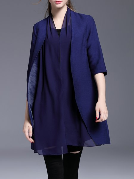 Navy Blue Polyester Casual Paneled Coat