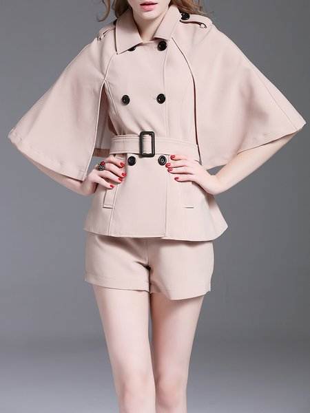 Khaki Shirt Collar Formal Cotton-blend Solid Romper