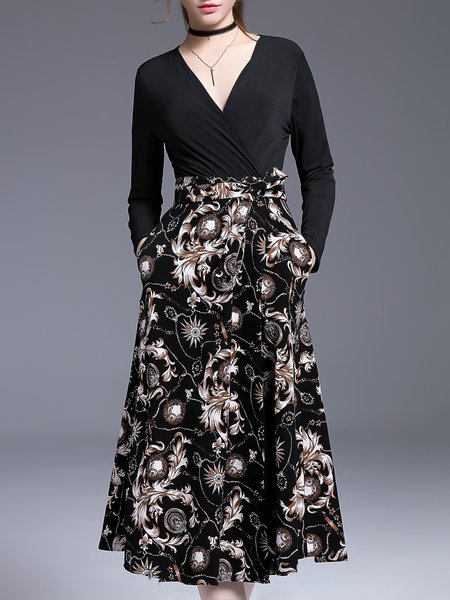 Black Floral Cotton Elegant Wrap Dress