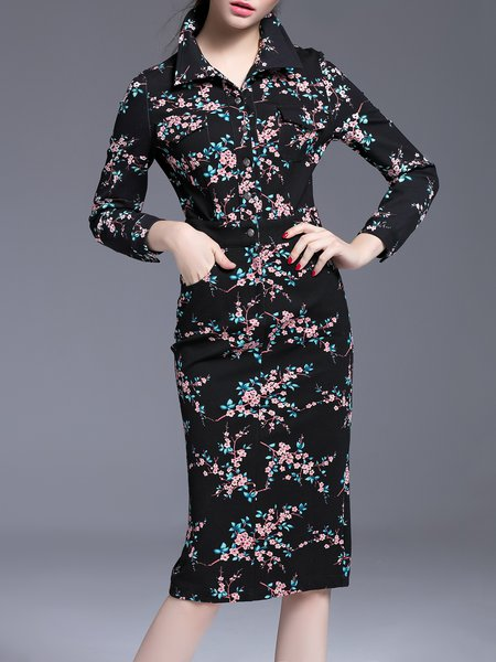 Black Sheath Elegant Floral Midi Dress