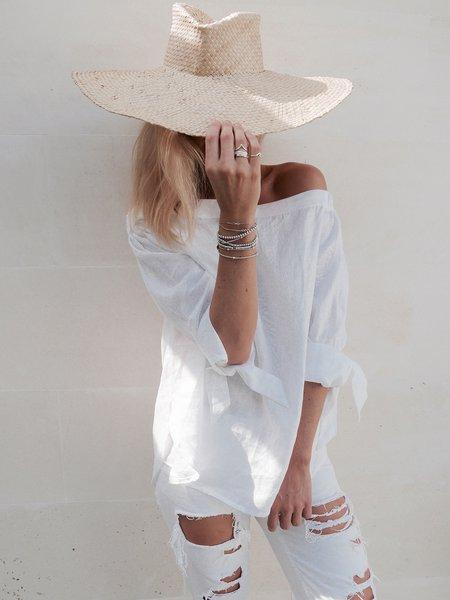 Boho Off Shoulder H-line Long Sleeve Linen Blouse