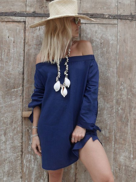 Navy Blue Plain H-line Linen Long Sleeve Mini Dress