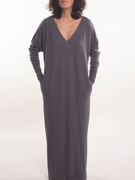 Deep Gray V Neck Casual Maxi Dress