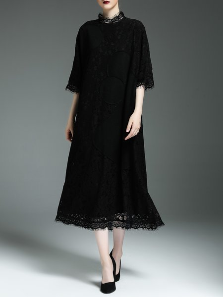 Black Lace Half Sleeve Guipure Lace Midi Dress