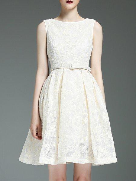 Sweet Guipure Lace Long Sleeve Mini Dress