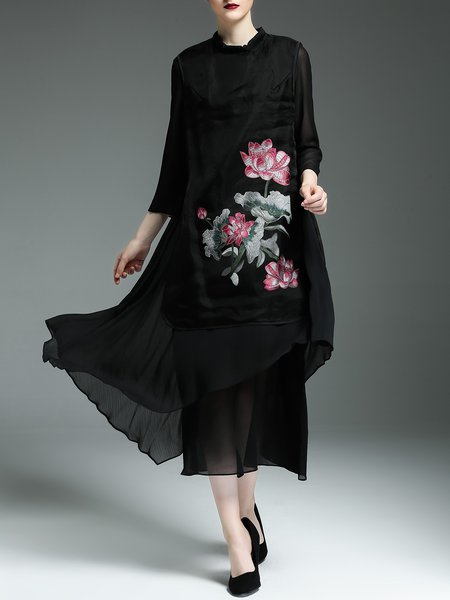 Black Embroidered Wool Blend Elegant Midi Dress
