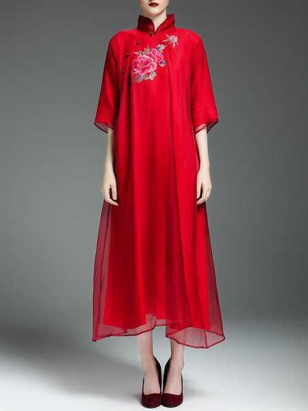 Red Floral Tencel 3/4 Sleeve Midi Dress