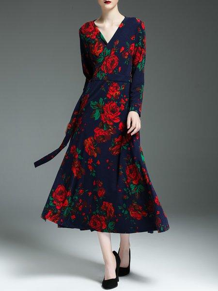 Navy Blue Floral-print Long Sleeve Swing Midi Dress