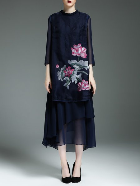 Navy Blue H-line Floral Stand Collar Elegant Midi Dress