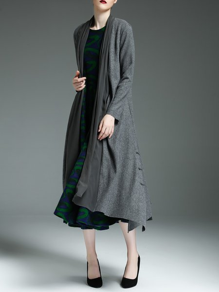 Gray Wool Blend H-line Elegant Buttoned Coat
