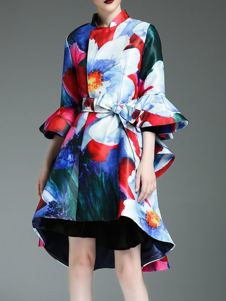 Frill Sleeve Stand Collar Printed High Low Elegant Coat