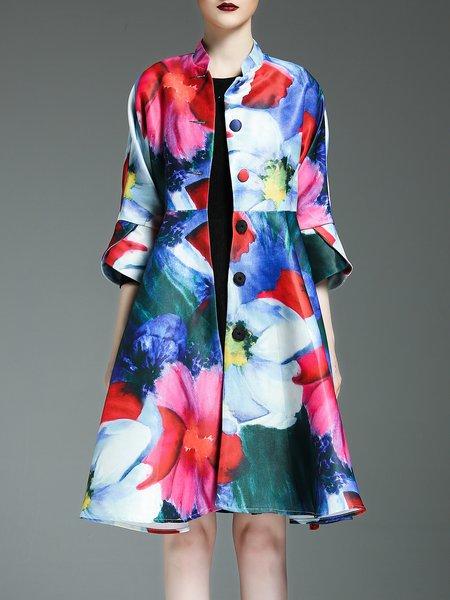 Multicolor Polyester A-line Elegant Coat