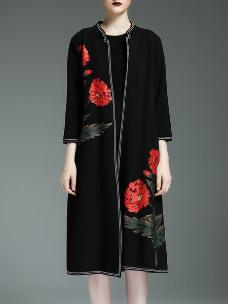 Black Long Sleeve H-line Polyester Coat