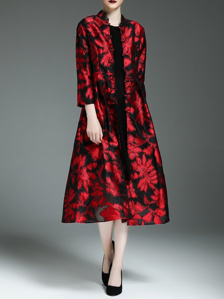 Red Floral Printed A-line Long Sleeve Coat