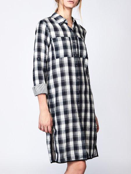 Casual Checkered/Plaid Paneled Long Sleeve Shirt Dress