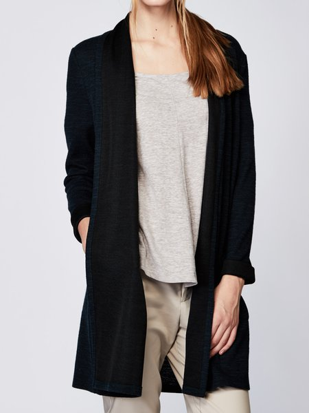 Dark Blue Knitted Long Sleeve H-line Plain Cardigan