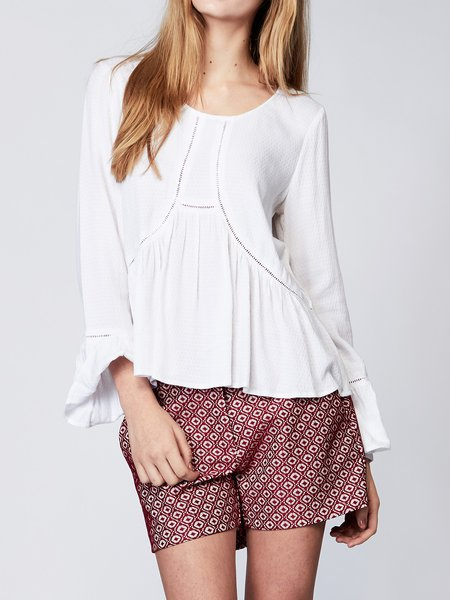 White Casual Woven Plain Pierced Blouse