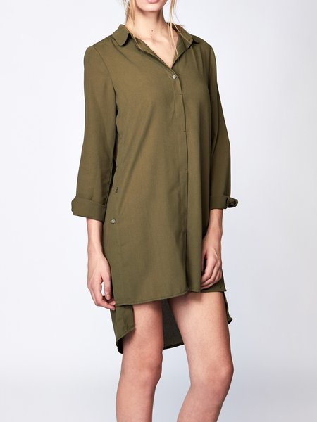 Army Green Asymmetric Long Sleeve Tunic