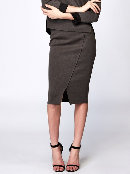 Deep Gray H-line Solid Simple Polyester Pencil Skirt