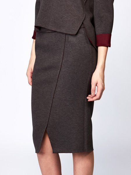 Brown Slit Simple Polyester Pencil Skirt