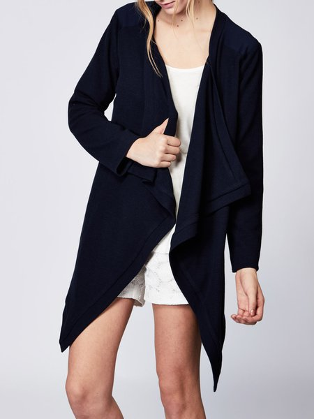 Navy Blue Asymmetrical Long Sleeve Solid Cardigan