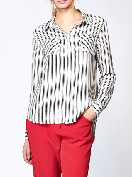 Black Long Sleeve Stripes Blouse