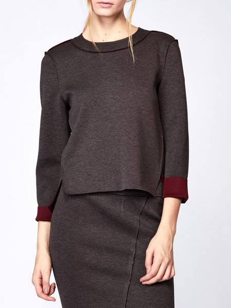 Brown Color-block H-line Long Sleeved Top
