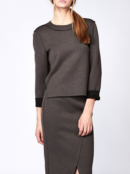 Deep Gray H-line Casual Crew Neck Long Sleeved Top