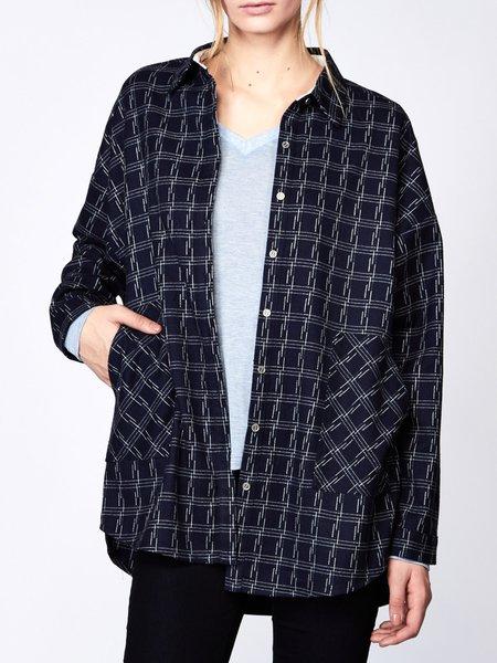 Casual Checkered/Plaid Shirt Collar Pockets Long Sleeve Blouse