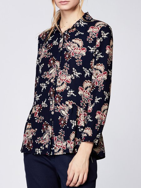 Navy Blue Floral Long Sleeve Woven Blouse