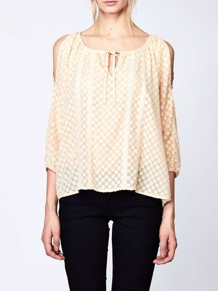 Crew Neck Simple Cold Shoulder Devore Chiffon Blouse