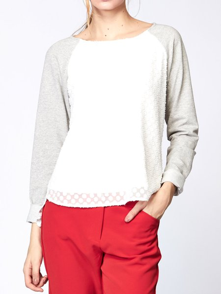 White Raglan Sleeve Color-block Long Sleeved Top