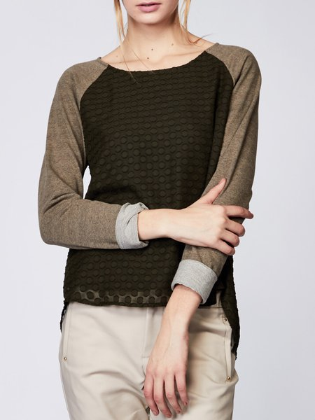 Olive Green Color-block H-line Casual Cotton-blend Long Sleeved Top