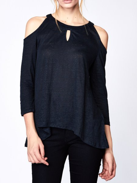 Keyhole Cold Shoulder Simple Polyester H-line Blouse