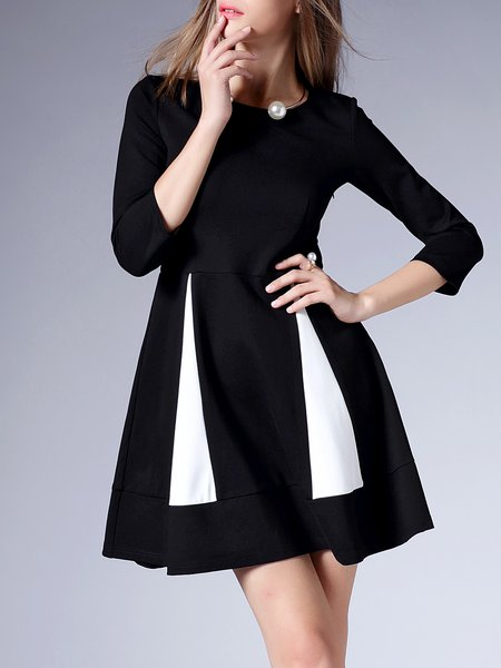 Black 3/4 Sleeve Cotton-blend Mini Dress