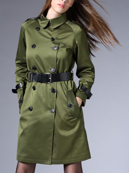 Buttoned Simple Long Sleeve H-line Trench Coat