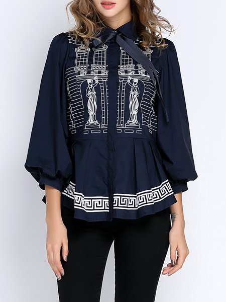 Cotton Long Sleeve Embroidered Elegant Blouse