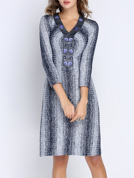 Elegant Woven Cotton-blend Long Sleeve Midi Dress