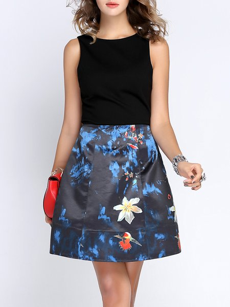 Printed Elegant Sleeveless A-line Midi Dress